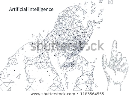 Blockchain Poster Text with Human Thinking Vector Stock photo © robuart