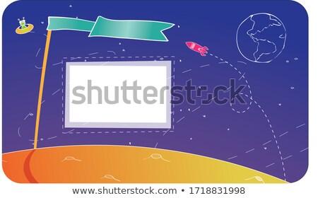 Yeşil kırmızı bayrak gezegen örnek doğa Stok fotoğraf © colematt
