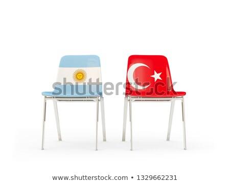 Twee stoelen vlaggen Argentinië Turkije geïsoleerd Stockfoto © MikhailMishchenko