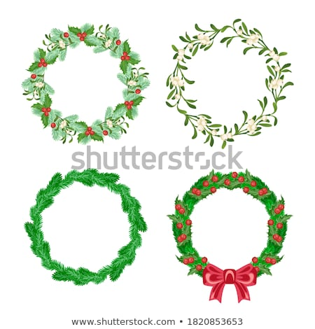 Christmas Wreath Made of Mistletoe and Bow Icons Stock photo © robuart