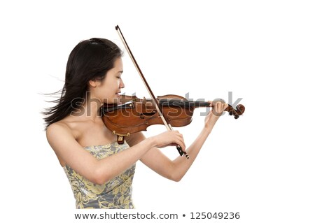 Woman violin player isolated on white Stock fotó © Elnur