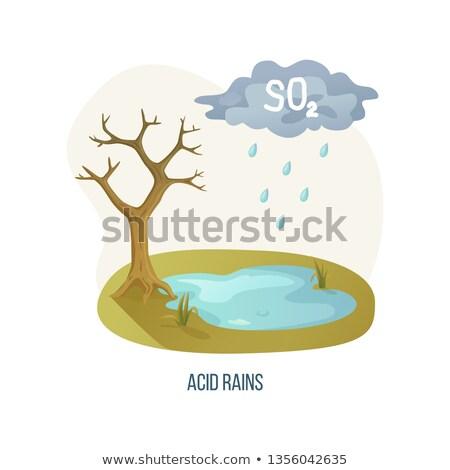 Acid Rains Tree with Cloud and Dangerous Liquid Foto stock © robuart