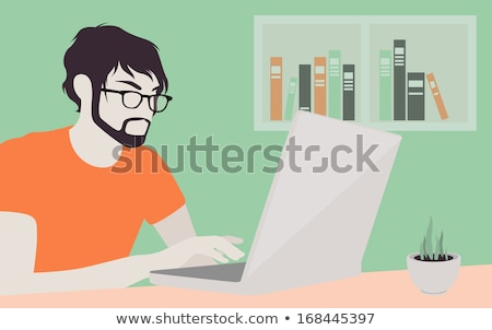 Persoon met behulp van laptop online workflow web vector Stockfoto © robuart