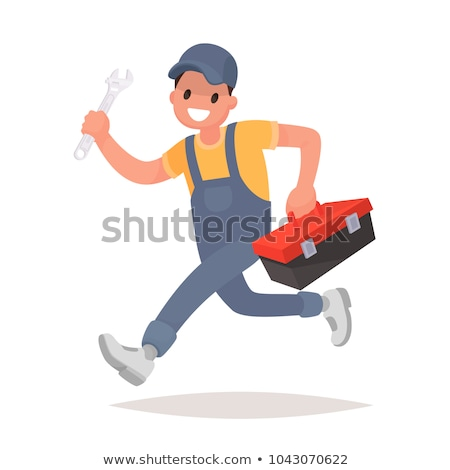 mechanic cartoon character with wrench and tool box stock photo © hittoon