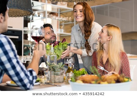 Vacsora csinos fürtös lány tányér szendvicsek Stock fotó © pressmaster