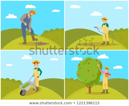 Woman with Wicker Pannier Vector Illustration Stock photo © robuart
