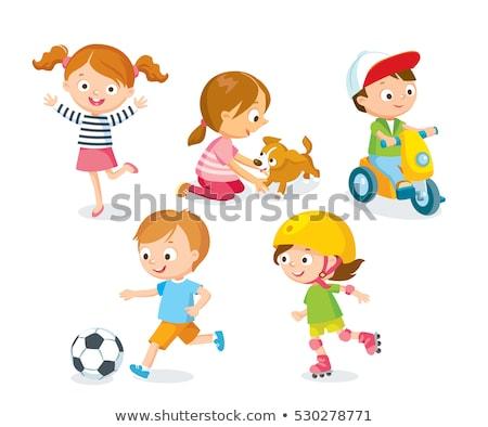 Kinderen spelen bal hond huisdier buitenshuis Stockfoto © robuart