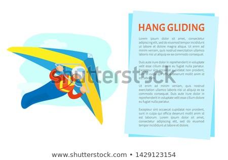 Dangerous Sport, Hang Gliding Postcard Vector Stock photo © robuart