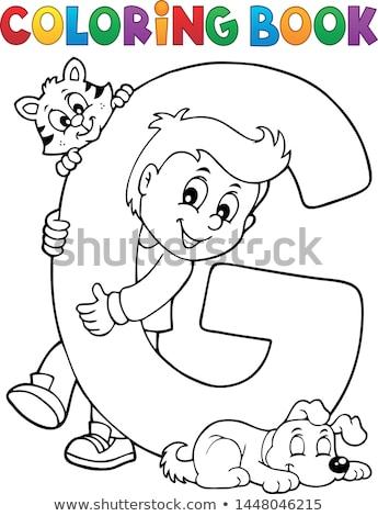 Fiú díszállatok g betű boldog gyermek macska Stock fotó © clairev