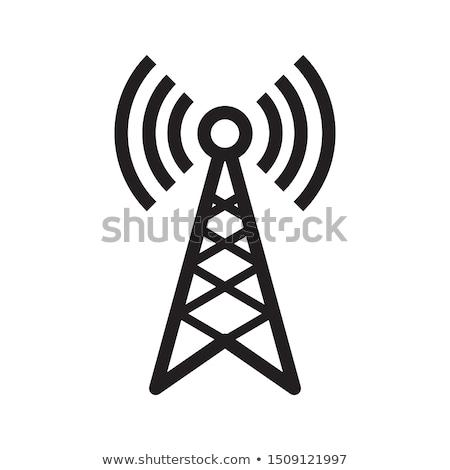 Rádio antena ícone azul quadro projeto Foto stock © angelp