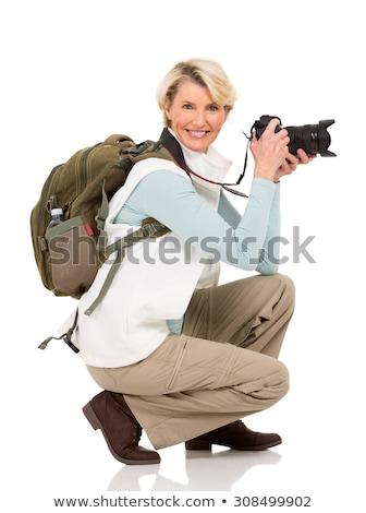 Kobiet turystycznych odizolowany biały Pokaż Zdjęcia stock © Elnur