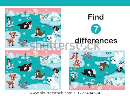 Stock photo: finding differences game with bears characters