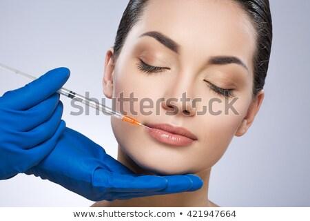 mooie · vrouw · schoonheid · gezicht · injectie · veroudering · arts - stockfoto © serdechny