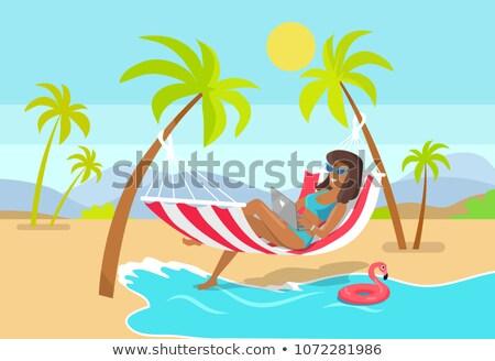 Freelancer werken strand afgelegen werknemer zee Stockfoto © robuart
