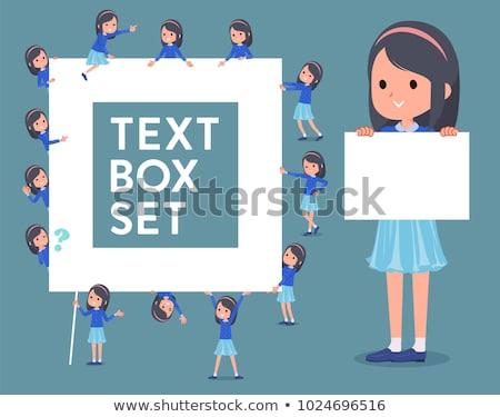 mavi · elbise · kız · ayarlamak · gülümseme - stok fotoğraf © toyotoyo