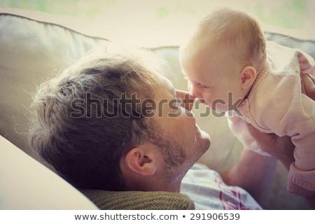 Padre pequeño bebé hija casa familia Foto stock © dolgachov