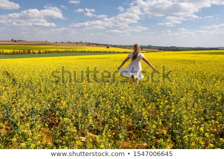 Country girl frollicking in fields of golden canola Stock photo © lovleah