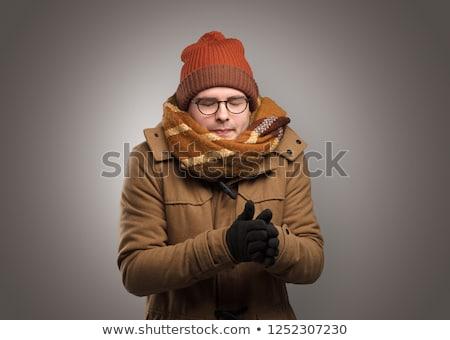 Jóképű fiú meleg ruha fiatal srác copy space férfi Stock fotó © ra2studio