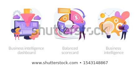 バランスのとれた 女性実業家 立って パフォーマンス 測定 ストックフォト © RAStudio