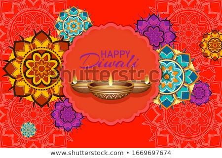gelukkig · diwali · festival · kaart · bloem · kaars - stockfoto © bluering