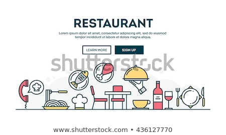 Ordering food online - line design style banners Stock photo © Decorwithme