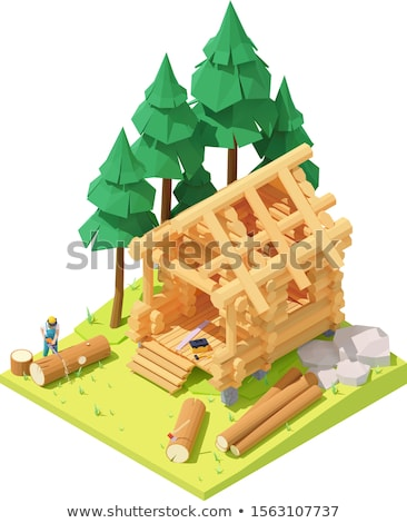 Vector isometric carpenter at log cabin building Stock photo © tele52