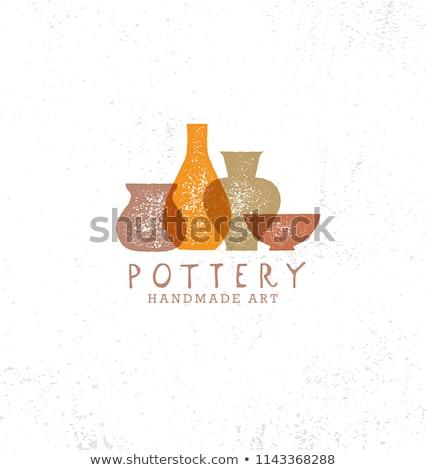Pottery Lettering Pots Illustration Stock photo © lenm