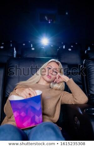 退屈 疲れ 小さな ブロンド 女性 ボックス ストックフォト © pressmaster