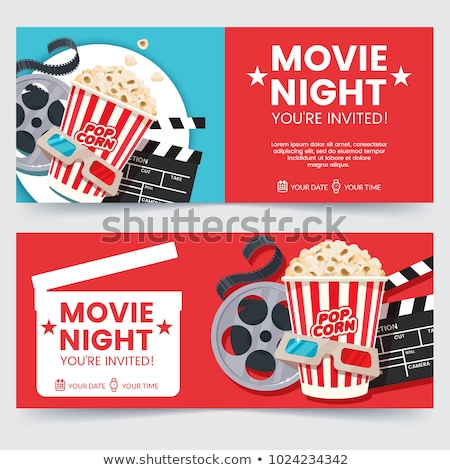 Movie Coupons, Glasses and Snack, Filmstrip Vector Stock photo © robuart