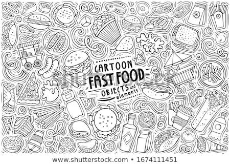 Vector set of Fastfood theme items, objects and symbols Stock photo © balabolka