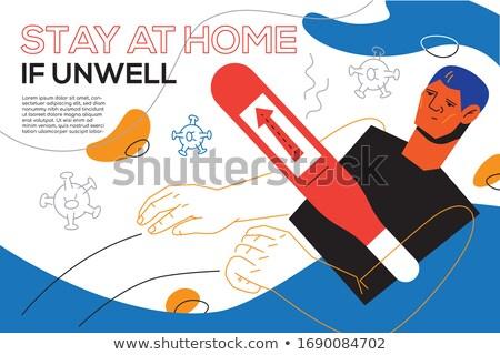 Blijven home onwel ontwerp stijl banner Stockfoto © Decorwithme