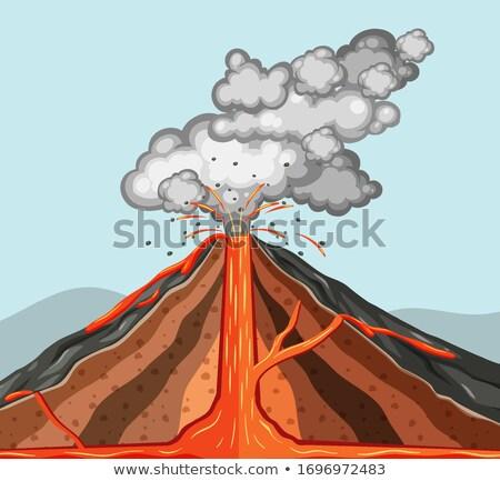 Içinde volkan lav duman dışarı örnek Stok fotoğraf © bluering
