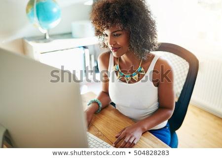 Jonge vrouw werken home bedrijf ontspannen sofa Stockfoto © Giulio_Fornasar