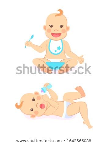 Baby Meilensteine 12 Monate Essen trinken Stock foto © robuart
