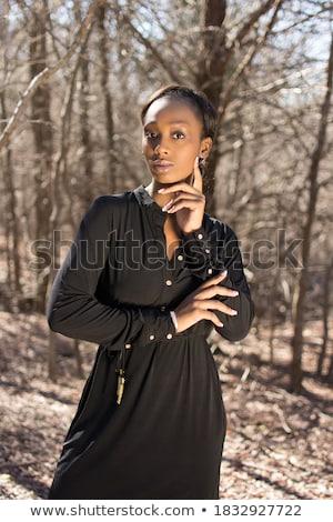 Vonzó fiatal afrikai nő visel lezser Stock fotó © deandrobot