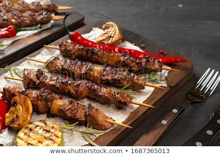 гриль свинина мяса растительное синий Сток-фото © olira