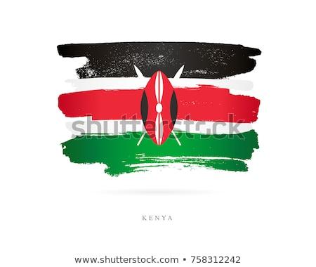 Kenia banderą strony biały tle Afryki Zdjęcia stock © butenkow