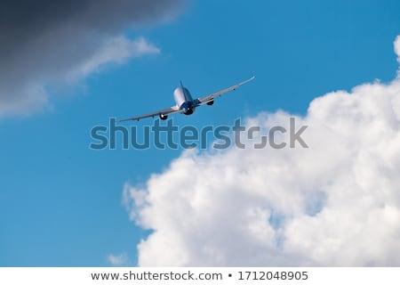 panorâmico · tiro · jato · aeronave · pôr · do · sol · céu - foto stock © moses