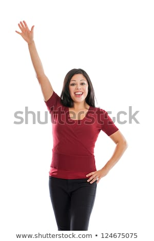 beautiful brown-haired woman with  raised hands Stock photo © Paha_L