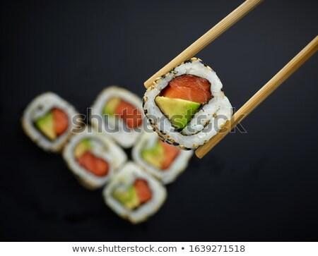 Stockfoto: Eetstokjes · sushi · houten · stuk · garnalen