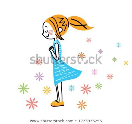 Beautiful child looking sideways smiling Stock photo © lovleah