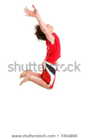Gyermek kezek nyújtott égbolt vidám fiú ugrás Stock fotó © lovleah