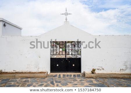 Mezarlığın Portekiz çim kilise mavi Stok fotoğraf © inaquim