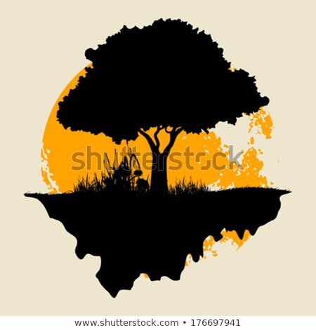Silueta árbol crepúsculo luna mono vaina Foto stock © 808isgreat