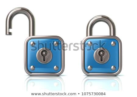 Stockfoto: 3D · hangslot · sleutels · 3d · render · veiligheid · slot