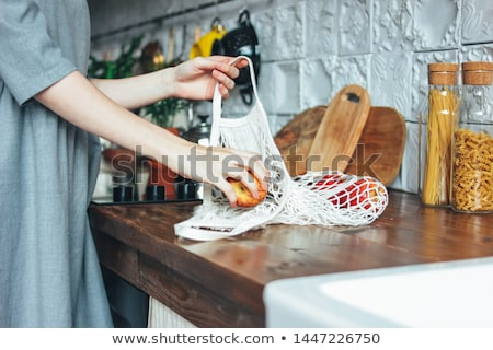 Black reusable shopping bag Stock photo © devon