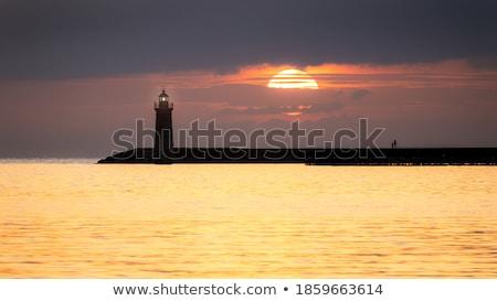 kék · piros · naplemente · tengerpart · mediterrán · tenger - stock fotó © lunamarina
