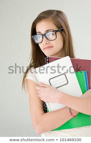 nő · póló · nagy · mappa · portré · vonzó - stock fotó © lithian