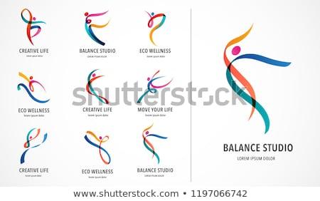establecer · colorido · yoga · silueta · negocios · agua - foto stock © pathakdesigner