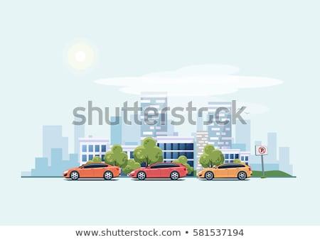 Ciudad coche ilustración centro tamaño aislado Foto stock © lkeskinen